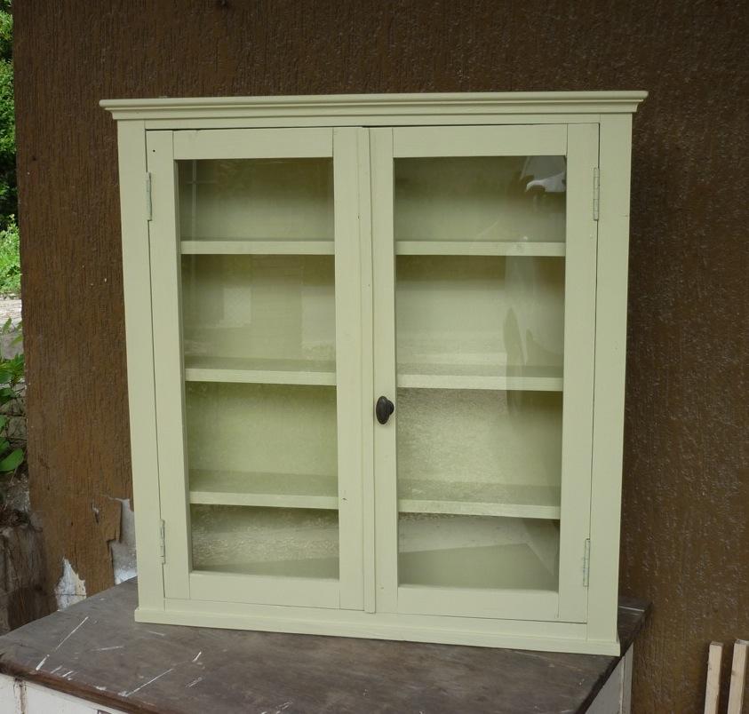 Aax vetrina vetrinetta scaffale pensile libreria legno anticato laccata verde ebay - Libreria verde ...
