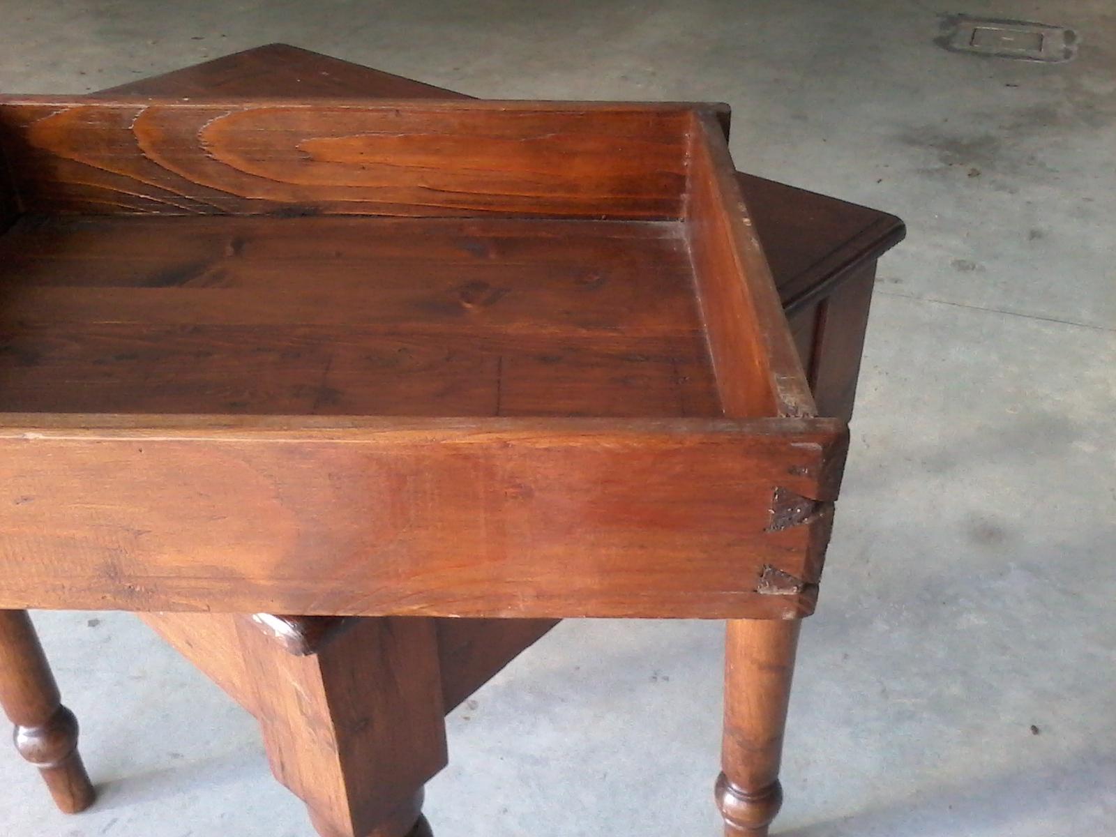 anu tavolo tavolino piedi torniti antiquariato legno abete